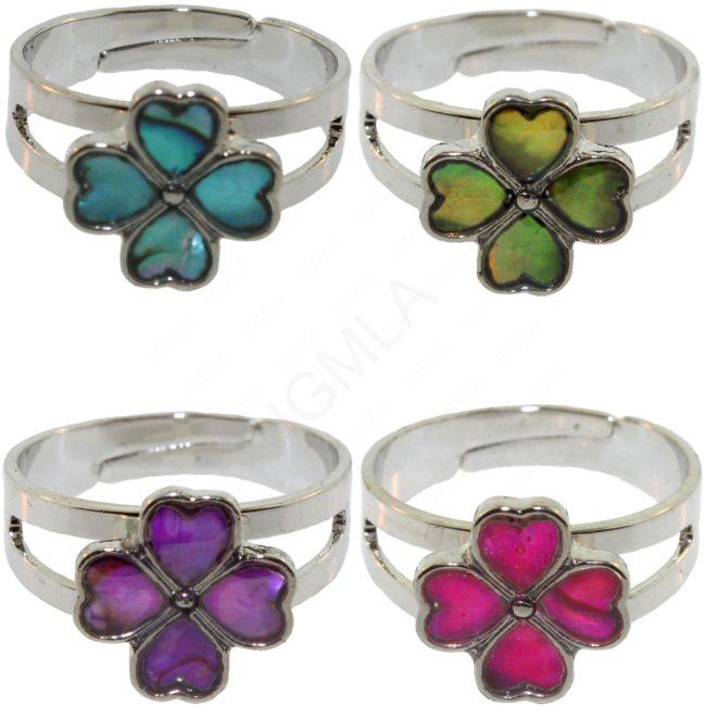 Clover Paua Shell Rings Jewelry