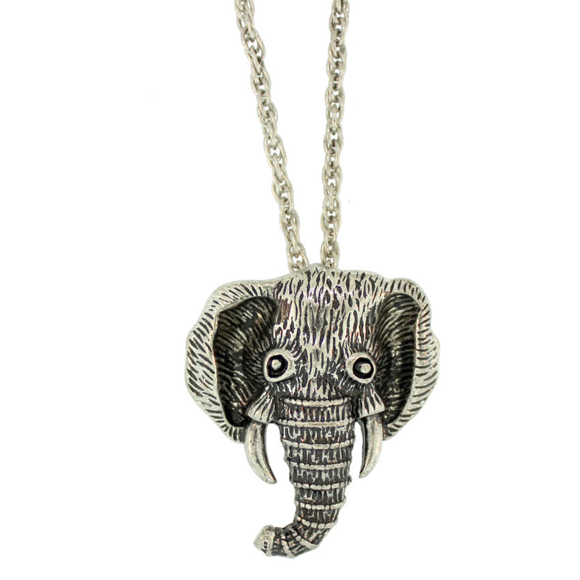 Burnished silver finish elephant head necklace igm elephant head pendant on a heavy chain jewelry aloadofball Images
