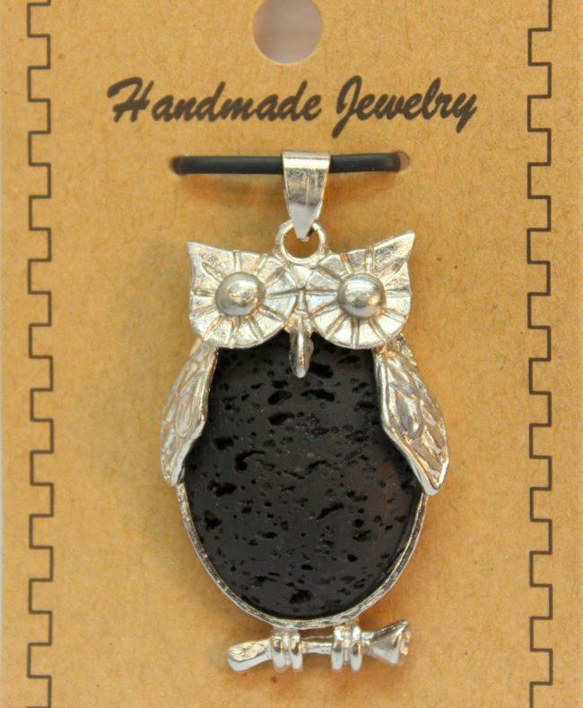 26X48mm Owl Lava Pendant Jewelry