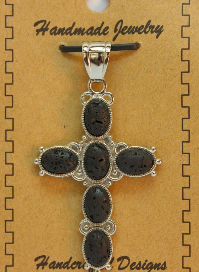 33X53mm 6 Pcs Oval Cross Lava Pendant Jewelry
