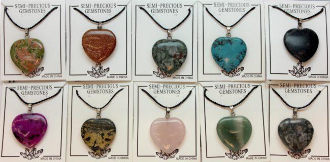 25mm Plain Heart Assorted Stone Jewelry
