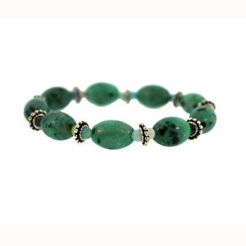 10 X 14mm Dyed Green Quartz Melon W/Pewter Bds Jewelry
