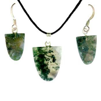 11X16/17X22mm Earring/Pendant Tongue Moss Agate Jewelry